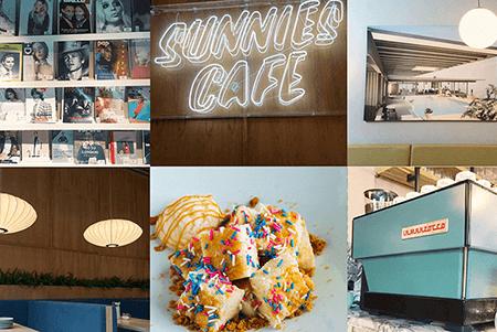 Sunnies Cafe - Magazines, Sunnies Cafe sign, Interior of BGC location, Funfetti Dessert, Coffee Machine